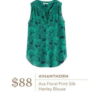 41 Hawthorn Ava floral henley 100% silk top